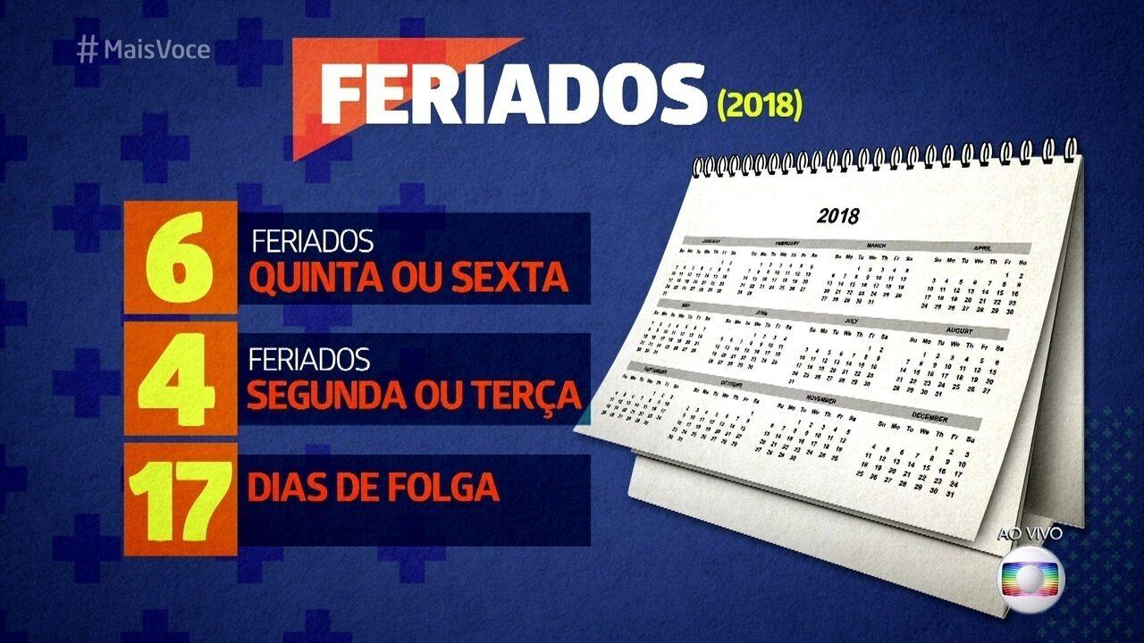 O ano de 2018 terá 10 feriados nacionais 'emendáveis'