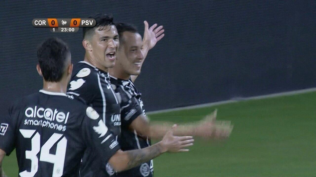 Gol do Corinthians! Jadson cruza e Rodriguinho abre o placar aos 23' do 1º
