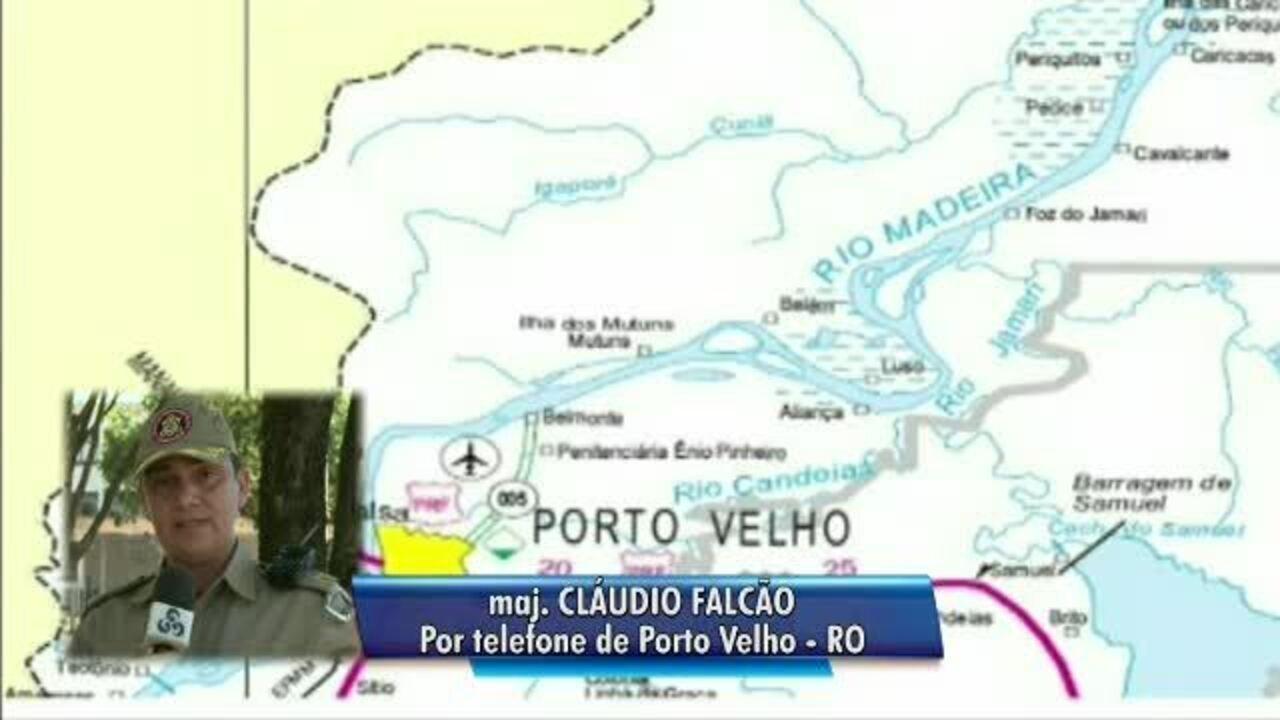 Major do Corpo de Bombeiros fala sobre situa��o da BR-364 com cheia do Rio Madeira