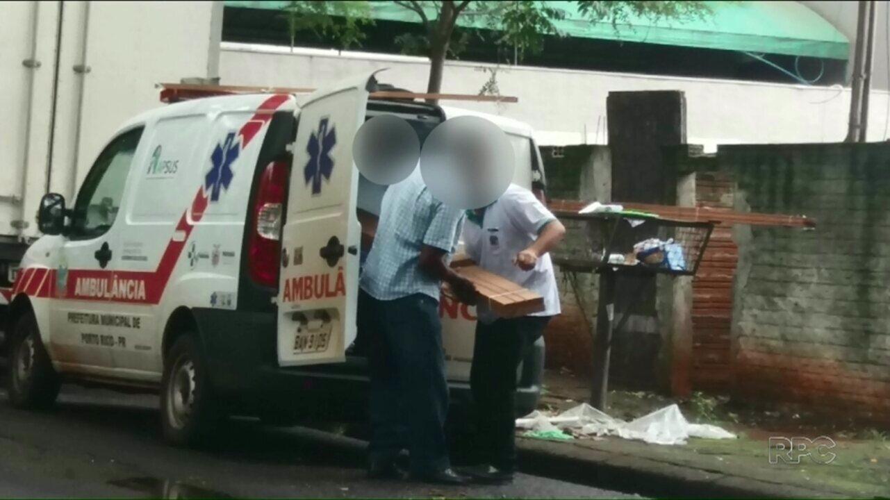 Motorista é flagrado colocando madeiras em ambulância de Porto Rico