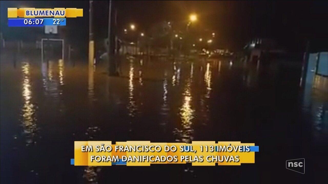 113 imóveis foram danificados pela chuva em São Francisco do Sul