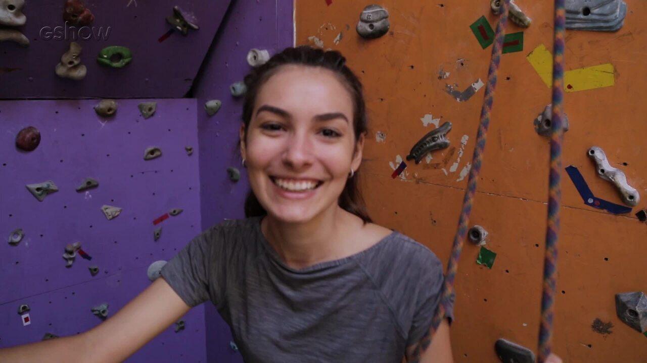 Marina Moschen, Giovanni De Lorenzi e João Vithor Oliveira fazem aula de escalada