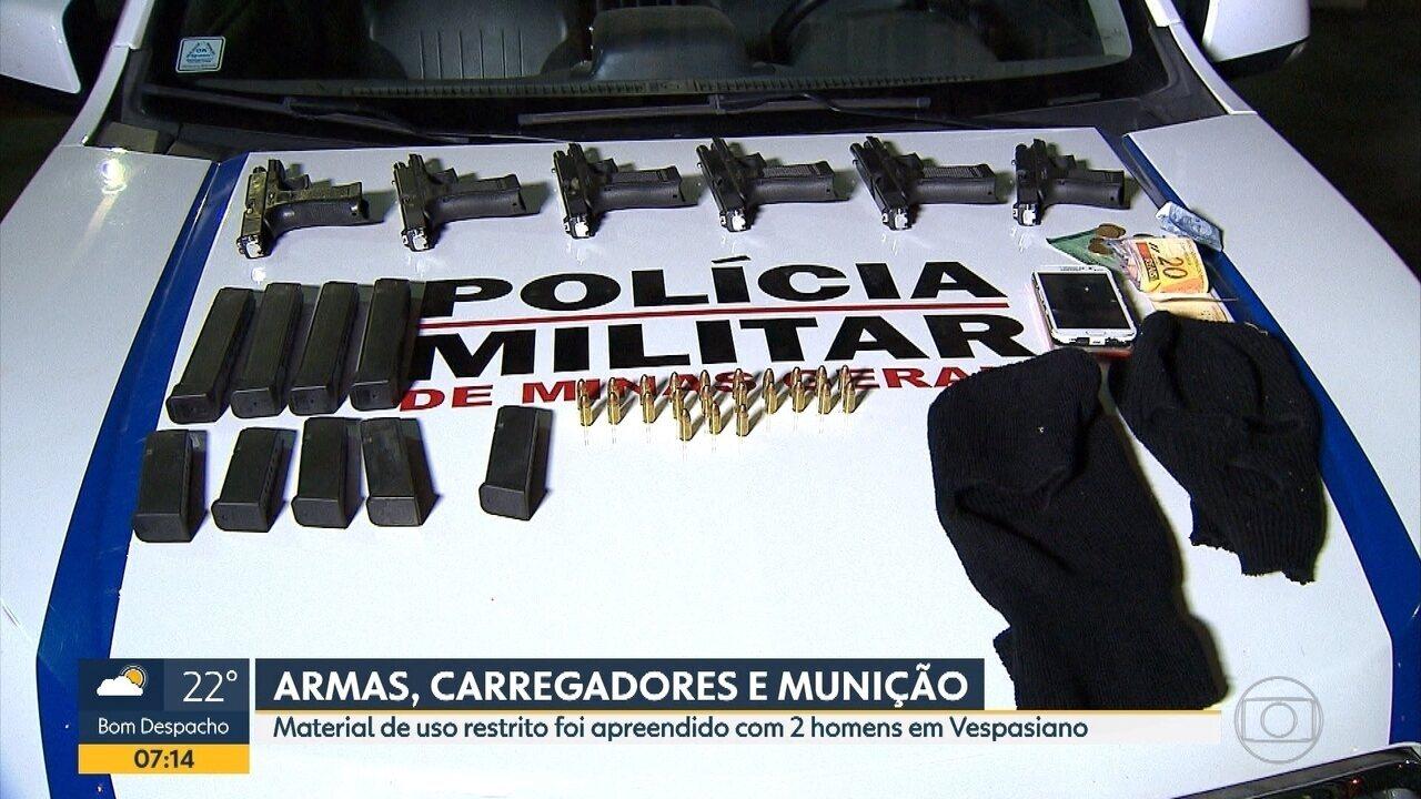 Dois homens são presos com armas de uso restrito das Forças Armadas em Vespasiano