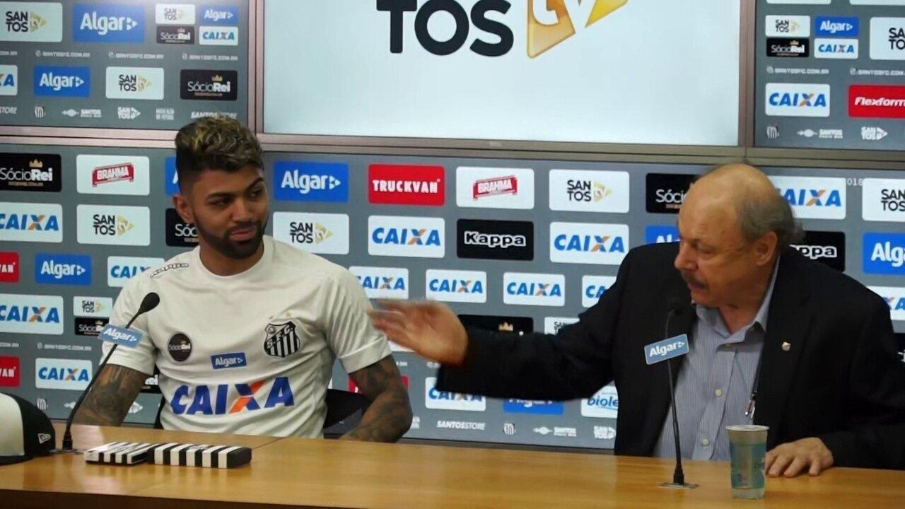 Presidente e diretor executivo de futebol do Santos apresentam Gabigol