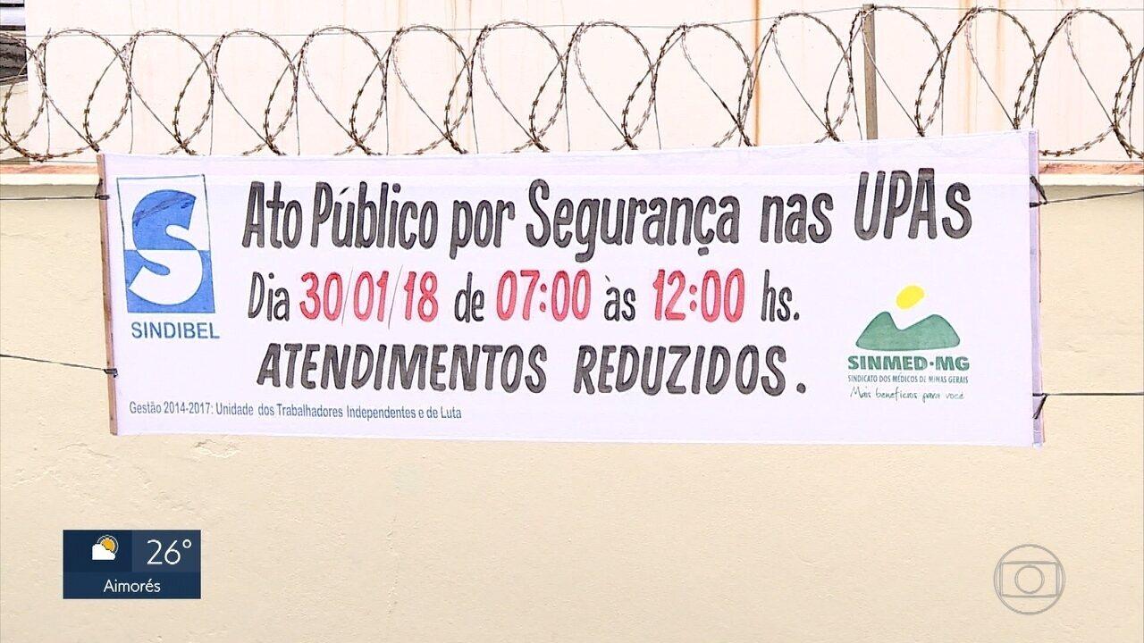Médicos e servidores de UPAs de Belo Horizonte fazem protesto por mais segurança