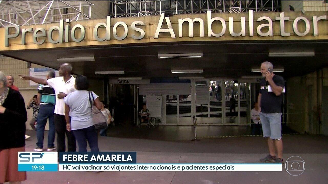 HC restringe vacina da febre amarela a viajantes internacionais e pacientes especiais