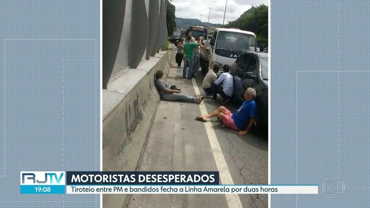 Motoristas ficam encurralados durante tiroteiro na Linha Amarela