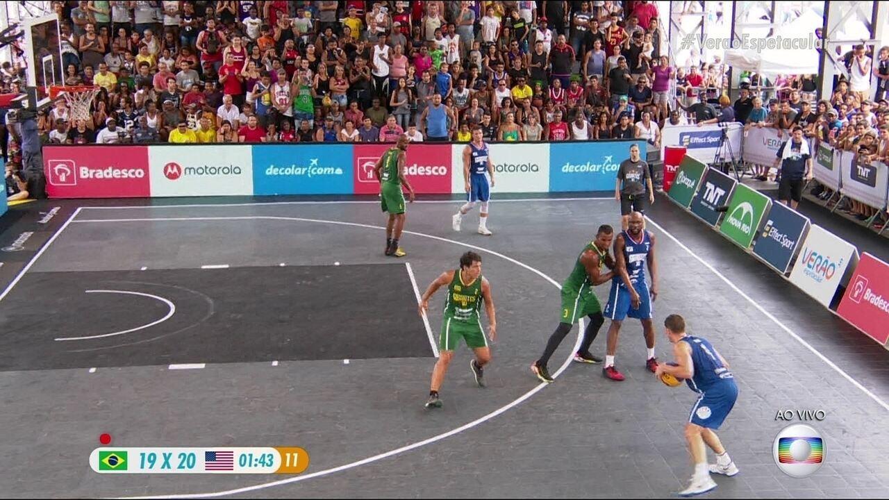 Melhores momentos: Brasil 19 x 22 Estados Unidos no desafio Gigantes do Basquete 3 x 3
