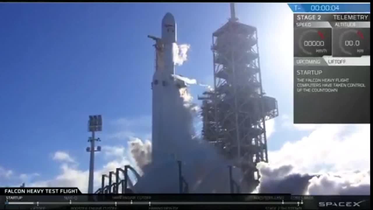 Veja o momento do lançamento do foguete Falcon Heavy
