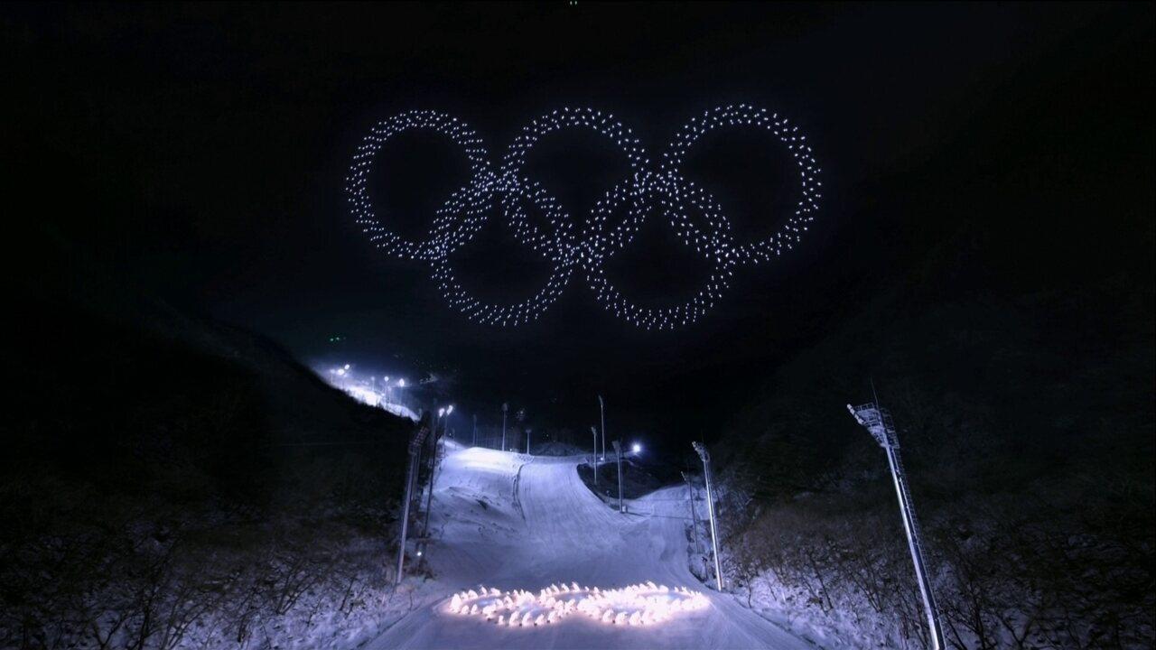 Drones formam os anéis olímpicos na cerimônia de abertura em PyeongChang