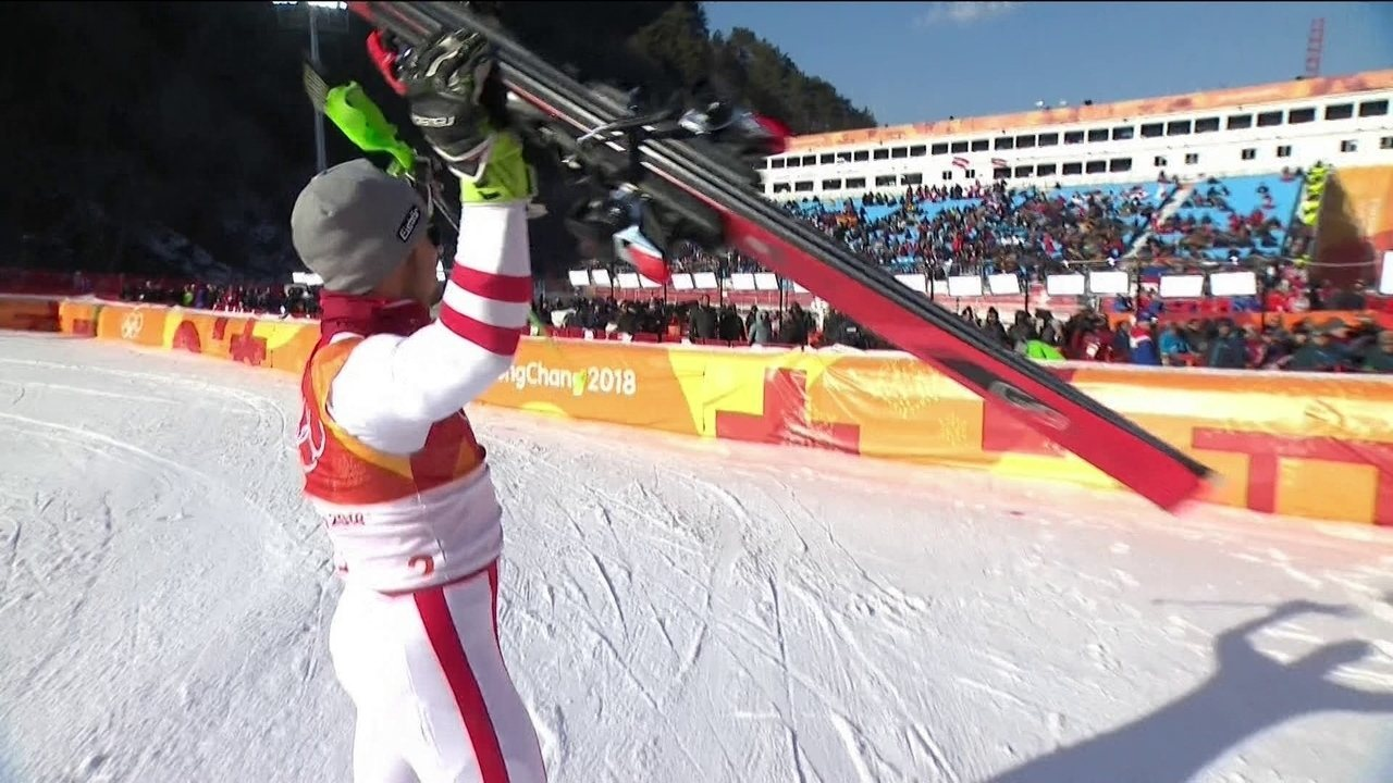 Marcel Hirscher conquista o ouro no esqui alpino slalom, em PyeongChang 2018