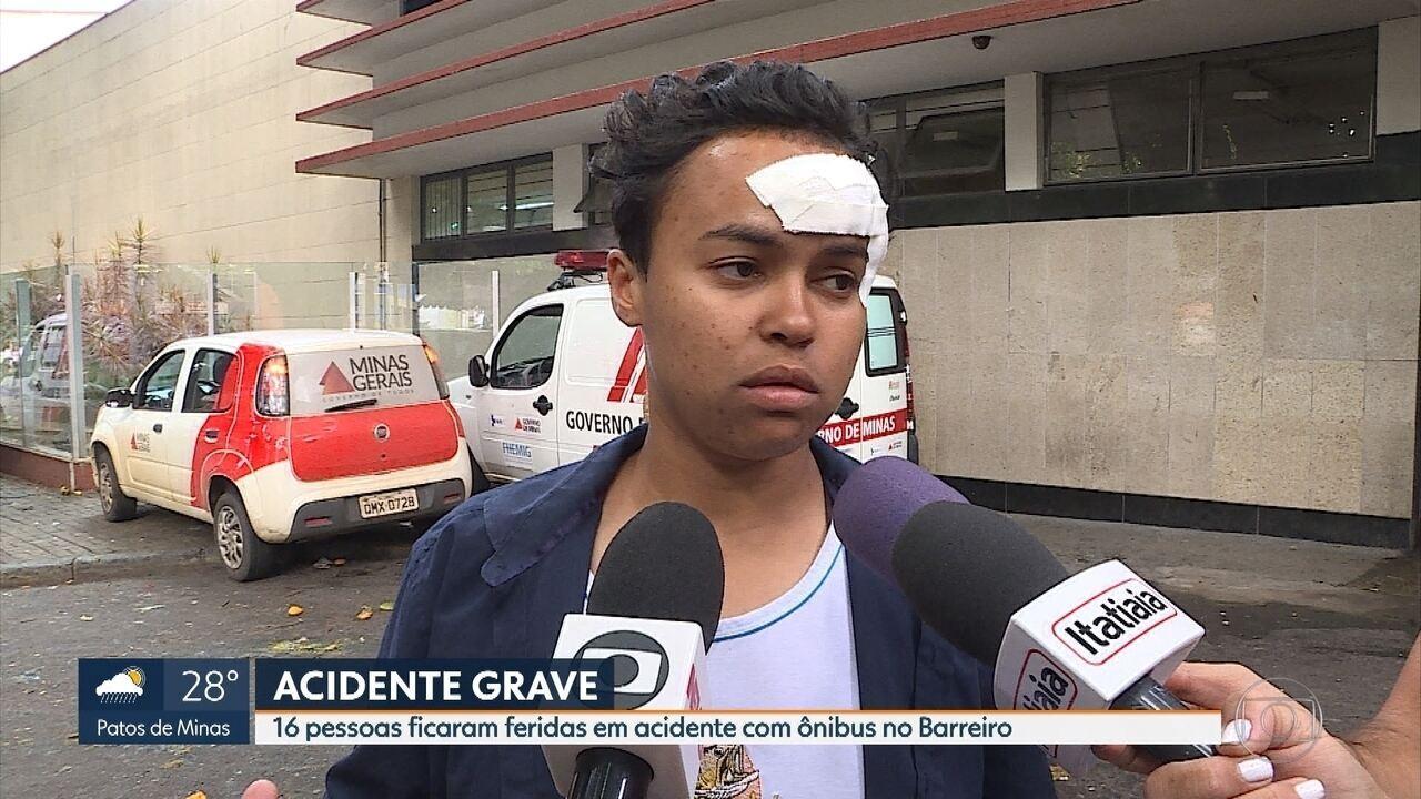 Dezesseis pessoas ficaram feridas no acidente com ônibus no Barreiro, em BH