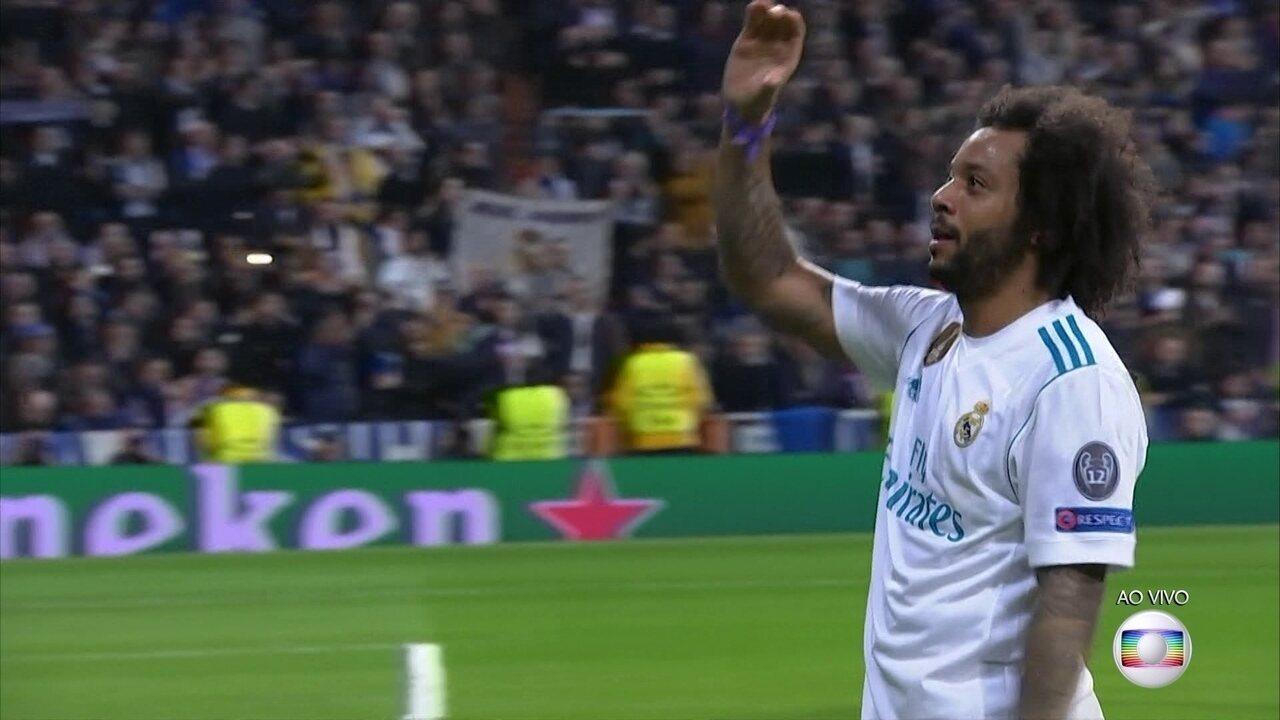 Gol do Real Madrid! Marcelo completa cruzamento da esquerda e amplia aos 41 do 2º tempo