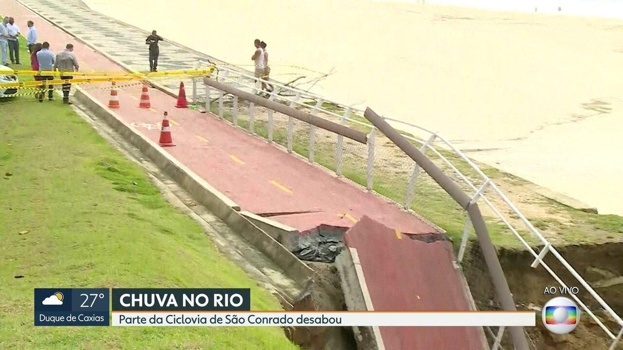 Trecho da ciclovia de São Conrado é interditado após desabamento