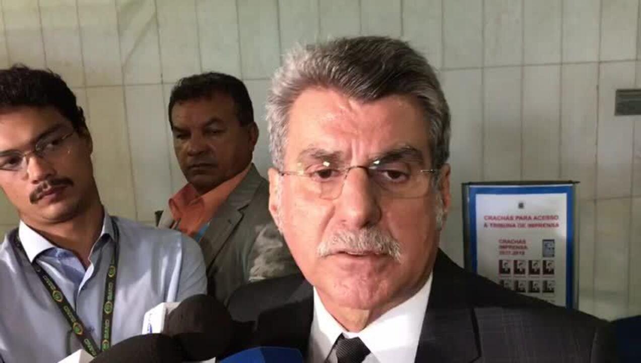 Romero Jucá, líder do governo, fala no Senado sobre as condições para votação da reforma da Previdência (Gustavo Garcia/G1)