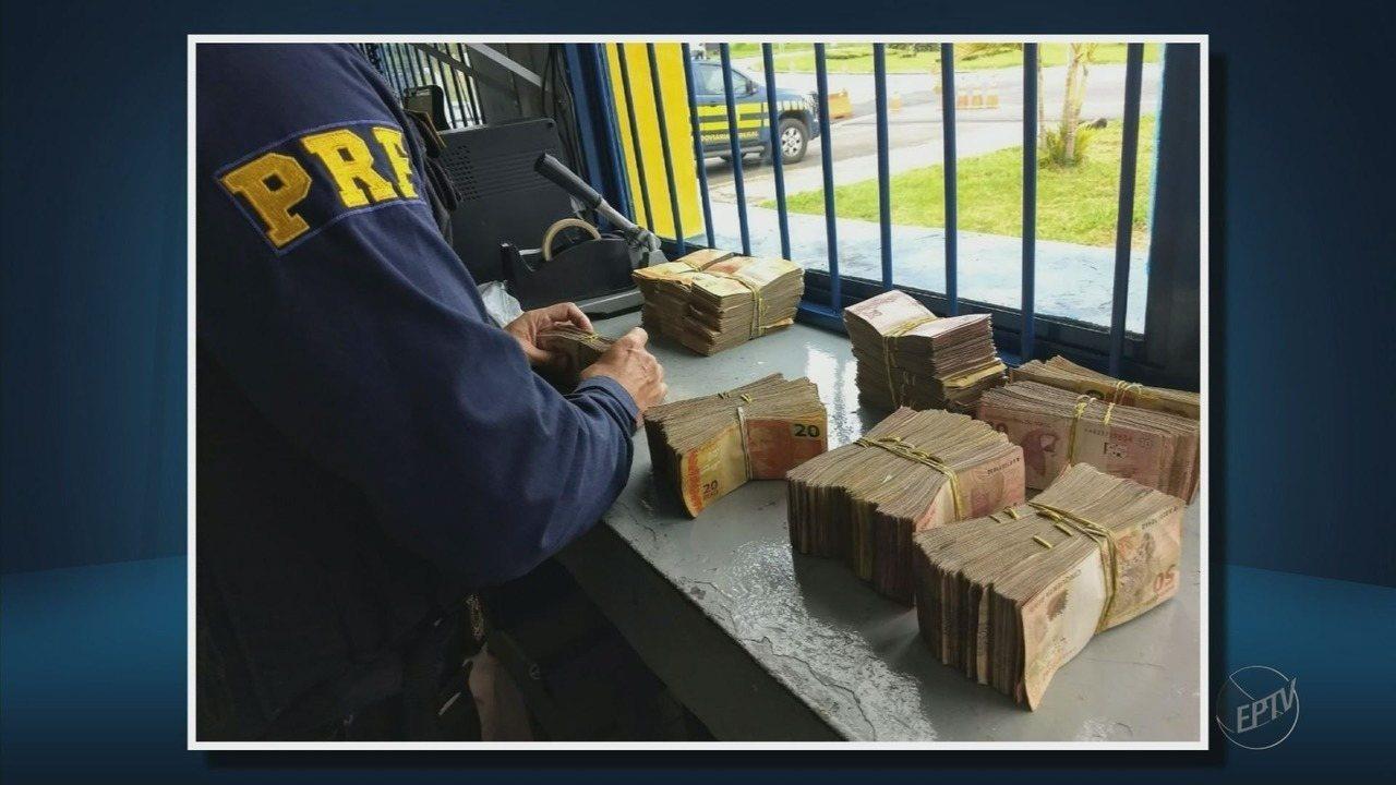 Polícia apreende cerca de R$ 90 mil dentro de caminhão na BR-146, em Poços de Caldas (MG)