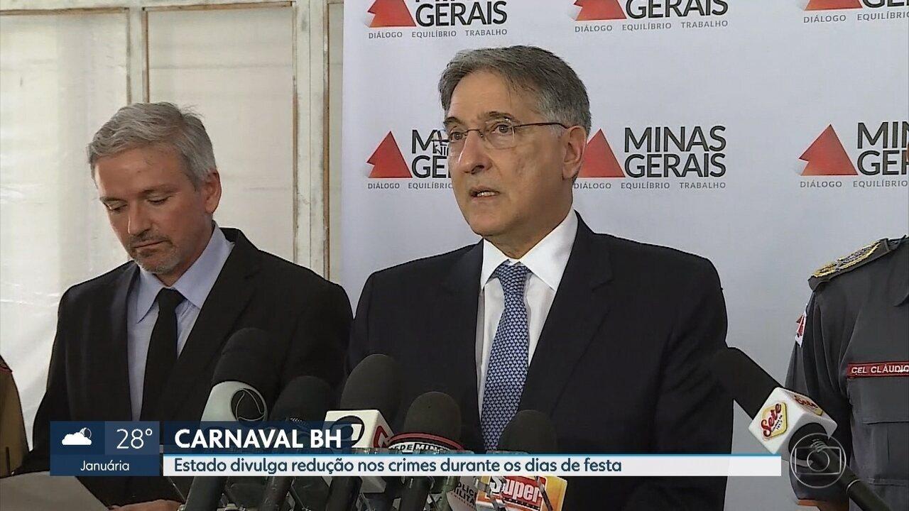 Número de crimes violentos cai 31% em BH durante o carnaval, diz governo de Minas Gerais