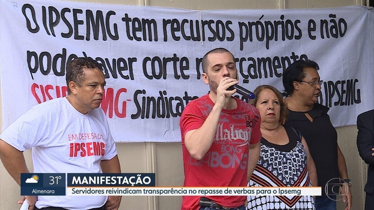 Funcionários do Ipsemg fazem protesto na Região centro-Sul de Belo Horizonte