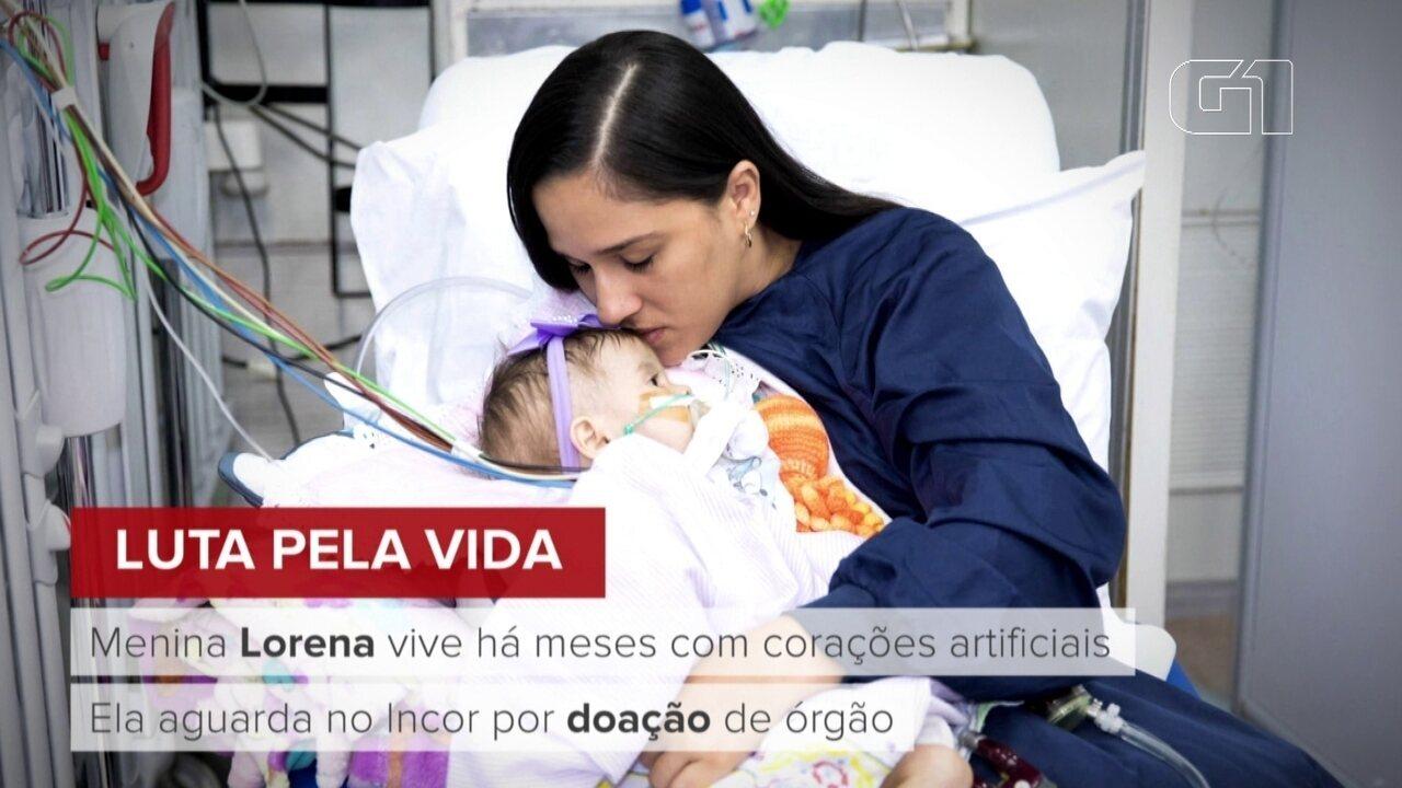 Menina Lorena aguarda transplante de coração no Incor