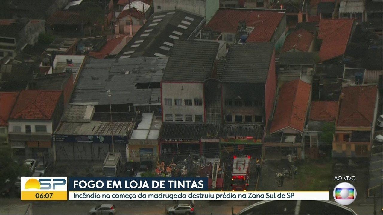 Armario Para Cozinha Pequena ~ Inc u00eandio atinge loja de tintas na Zona Sul de S u00e3o Paulo S u00e3o Paulo G1