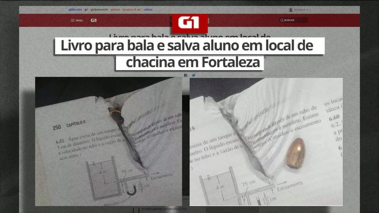 Livro salva aluno que passava pelo local da chacina em Fortaleza