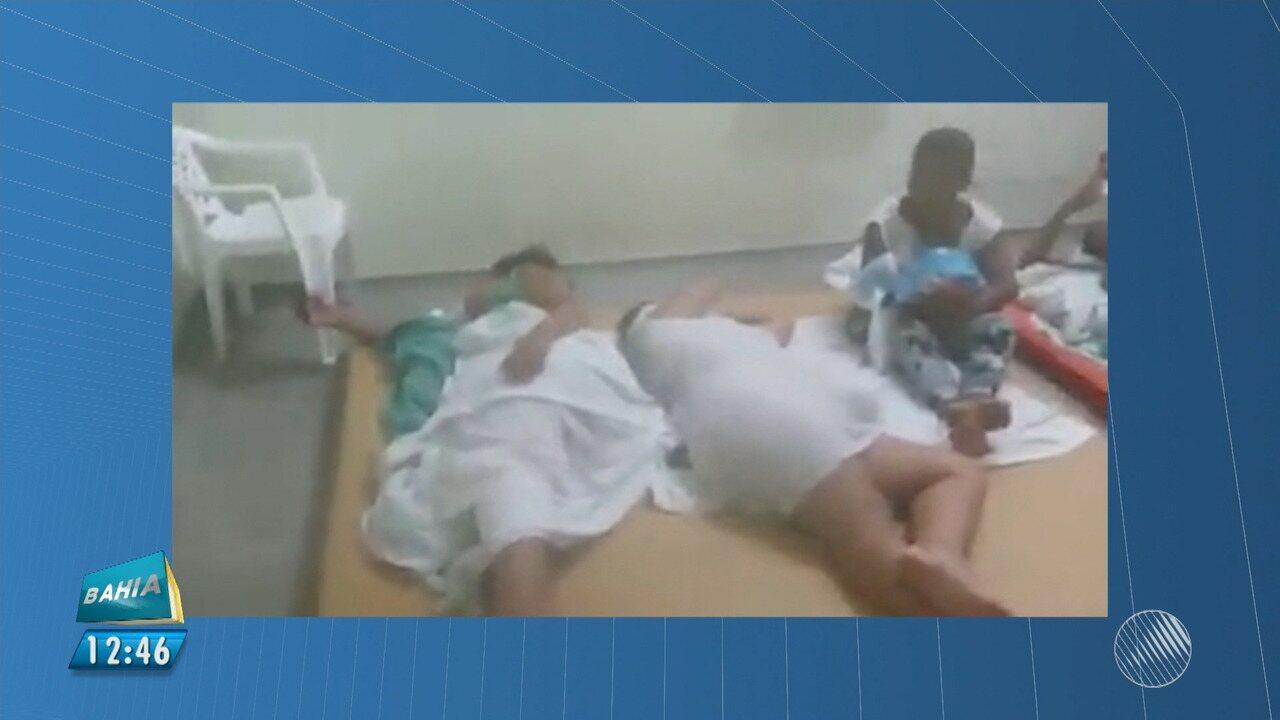 Resultado de imagem para vídeo divulgado nas redes sociais mostra mulheres que tinham acabado de ter filhos deitadas em tatames colocados no chão de uma unidade de saúde do município de Ilhéus,