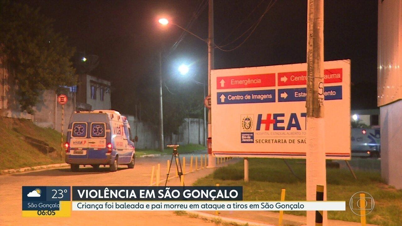 Criança é baleada e pai morre durante tiroteio em São Gonçalo
