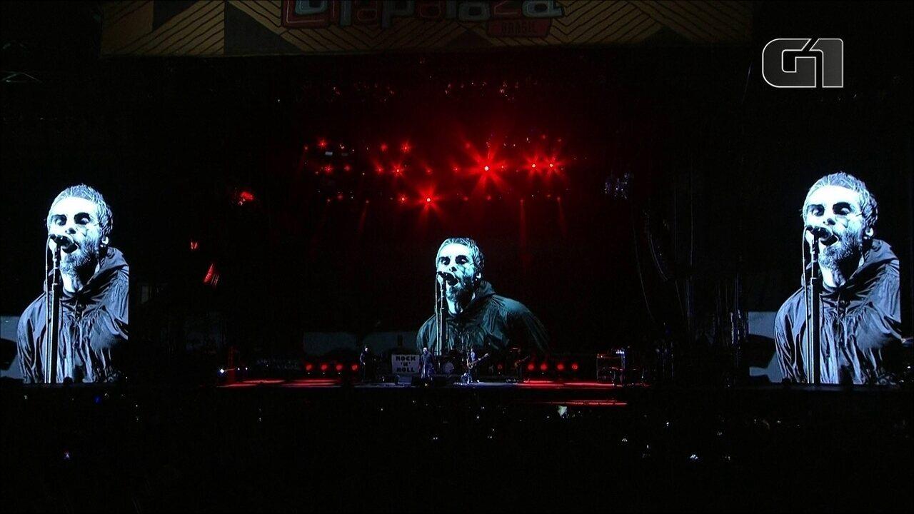 """Liam Gallagher canta """"Cigarretes & Alcohol"""" no palco Budweiser, no 3º dia de Lollapalooza"""