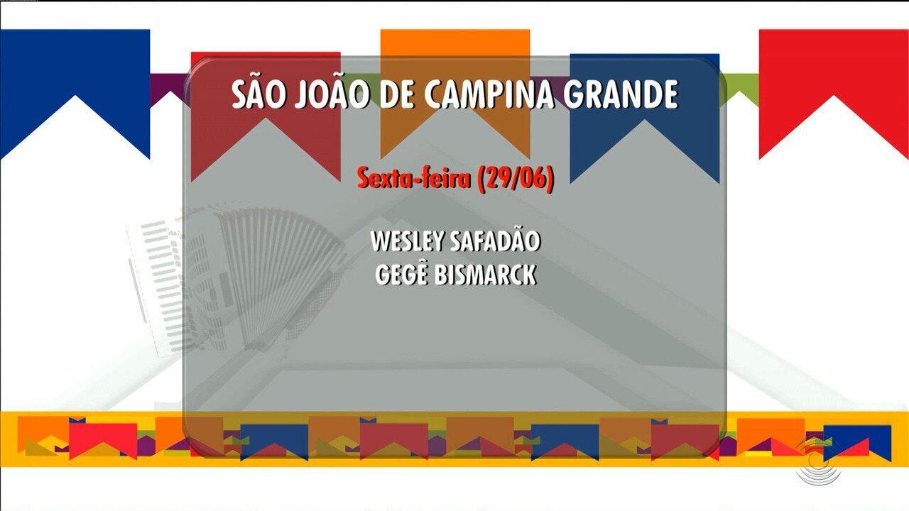 Veja programação do São João 2018 de Campina Grande