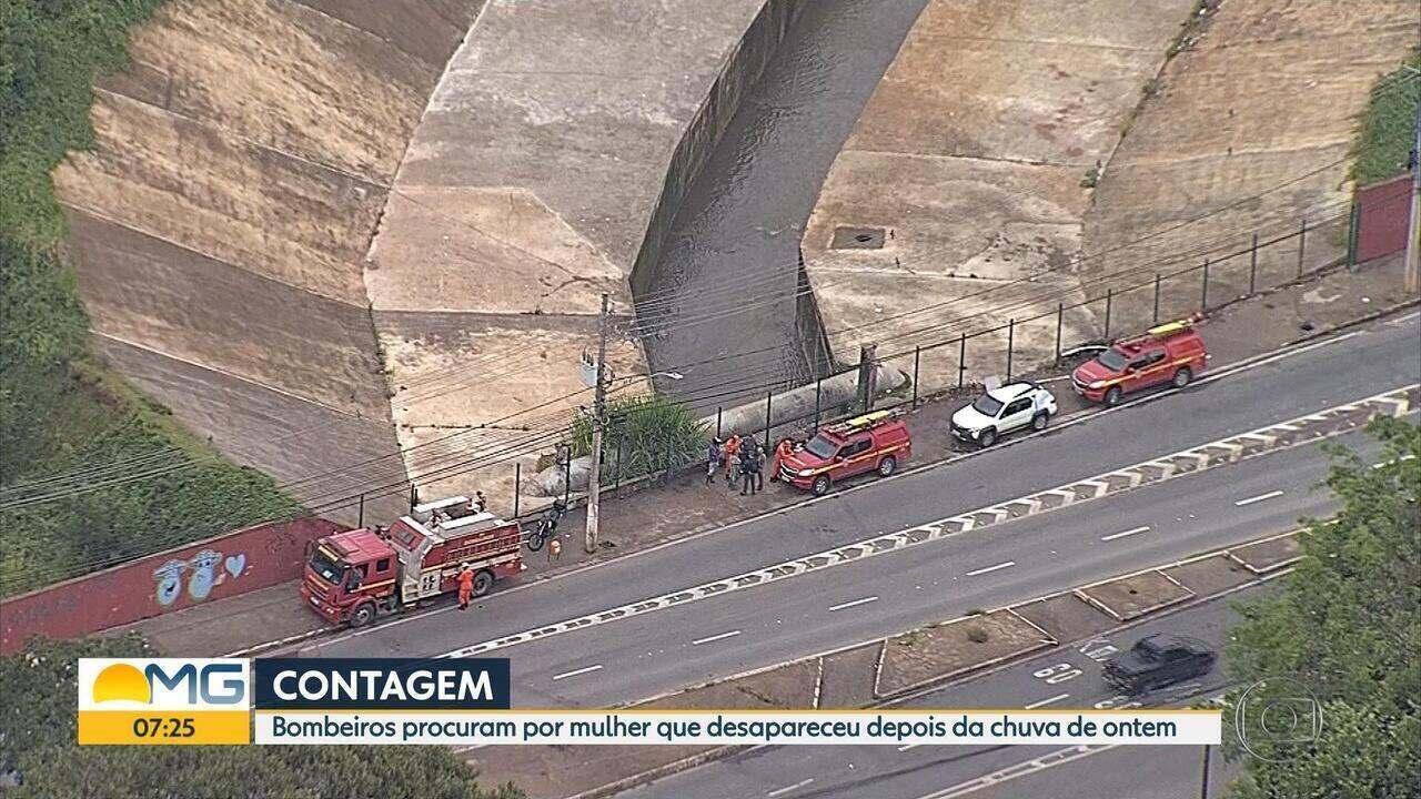 Bombeiros procuram por mulher que desapareceu depois de chuva em Contagem