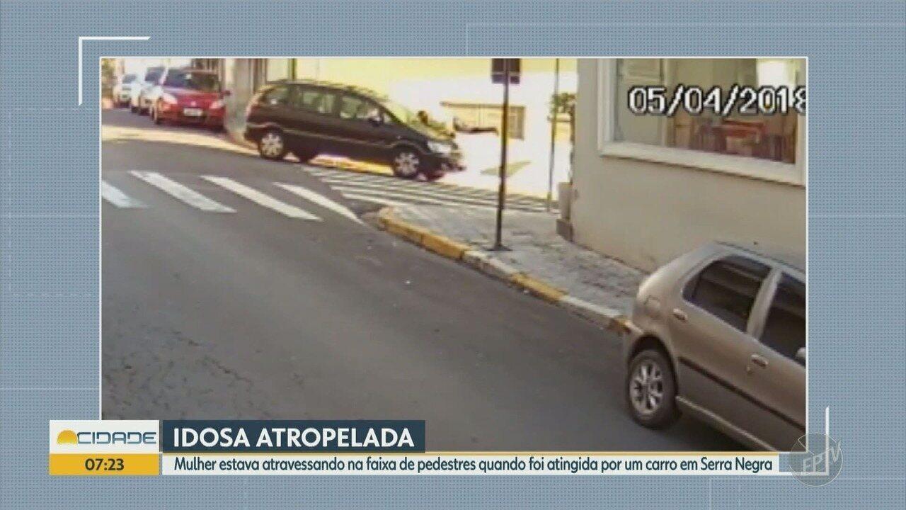 Idosa de 70 anos é atropelada no centro de Serra Negra