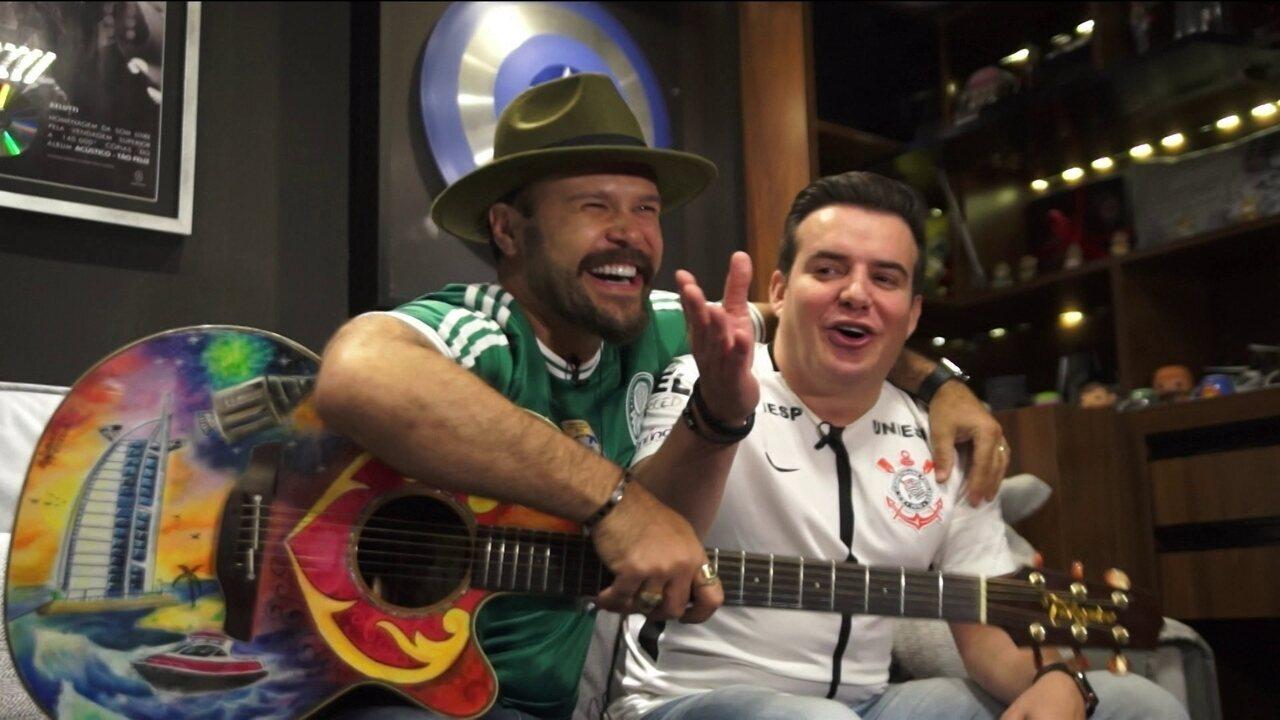 Marcos e Belutti duelam em desafio musical bem-humorado antes de Corinthians x Palmeiras