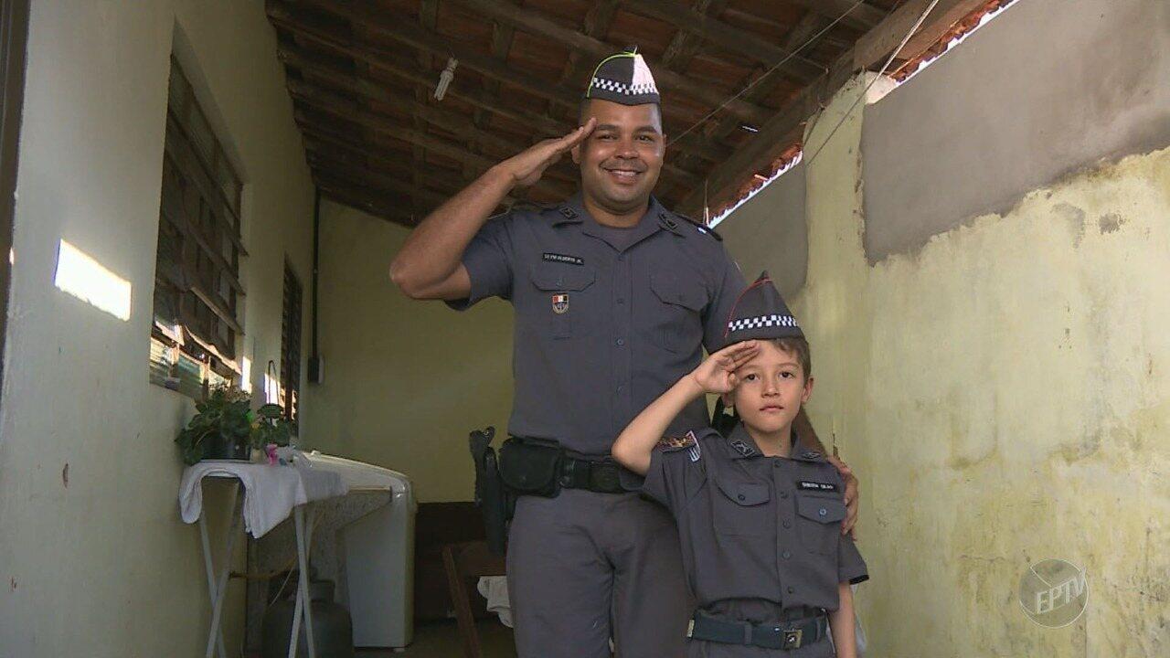 Resultado de imagem para Menino de 7 anos de Cosmópolis que luta contra leucemia ganha festa de aniversário da PM
