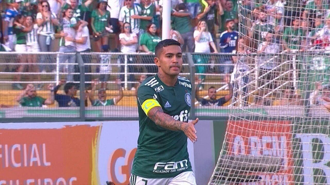 Gol do Palmeiras! Diogo Barbosa cruza e Dudu abre o placar, aos 39' do 1º tempo
