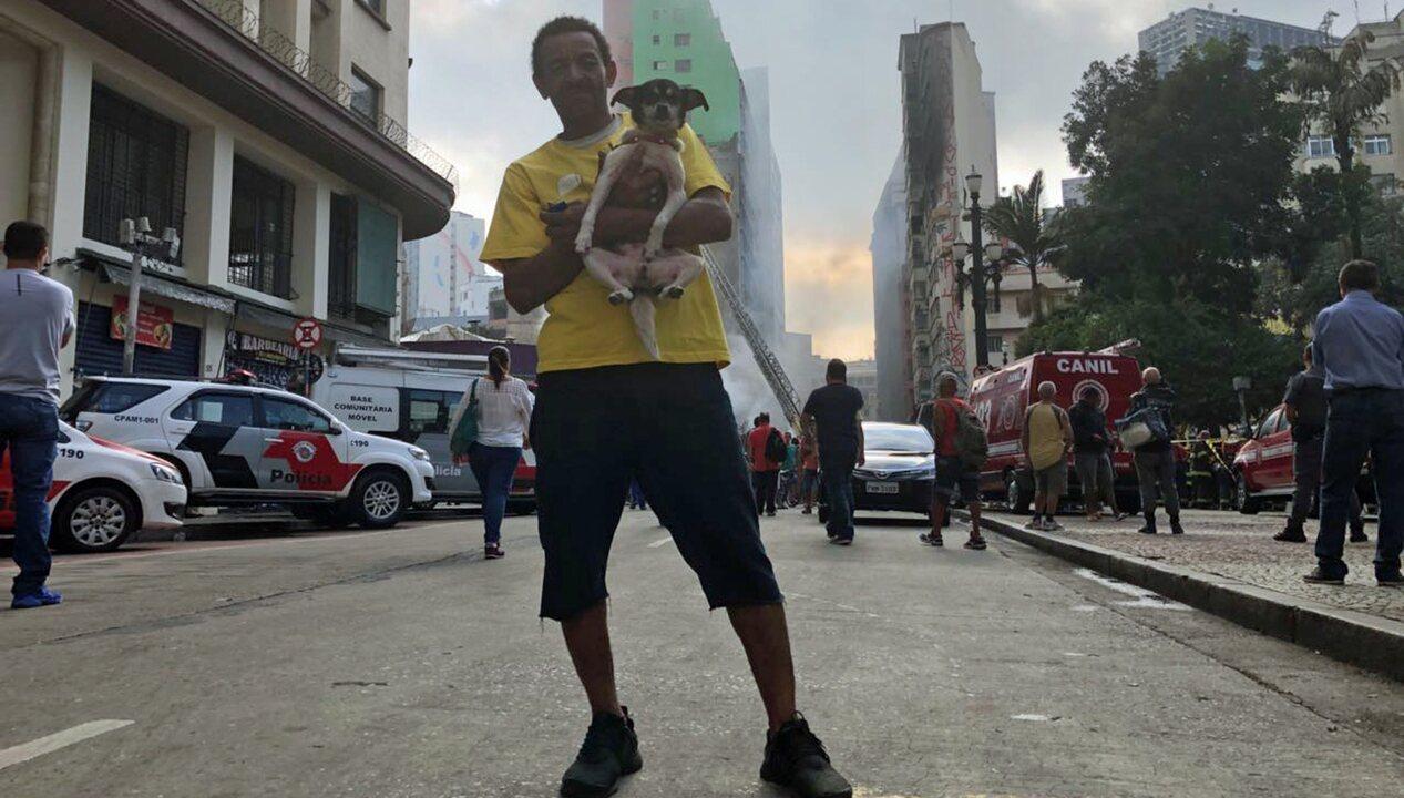 Morador conta como escapou de prédio que desabou após incêndio em SP