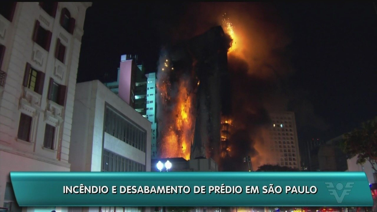 Prédio de 24 andares é consumido pelo fogo e desaba em SP