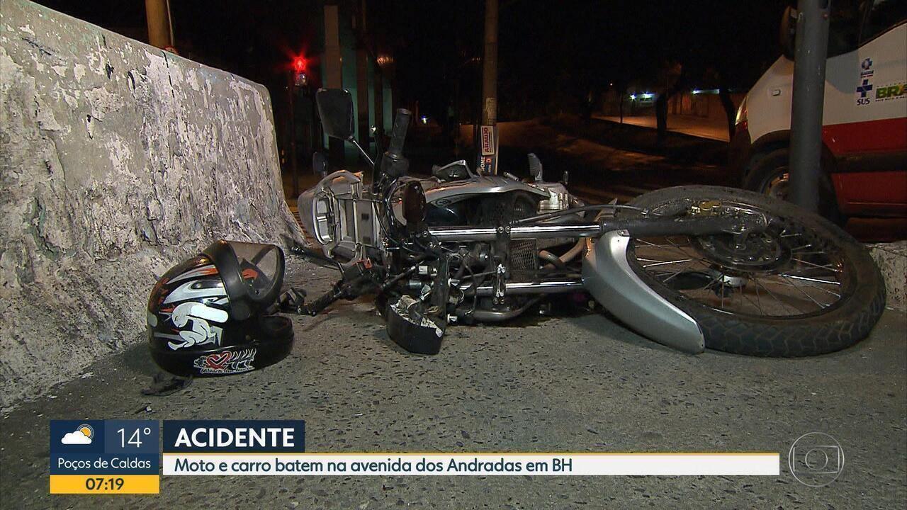 Motociclista fica ferido em acidente na Avenida dos Andradas, em Belo Horizonte