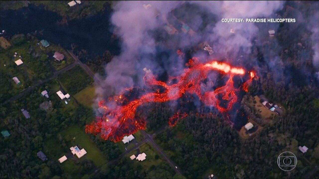 Vinte e seis casas são destruídas pela lava do vulcão Kilauea