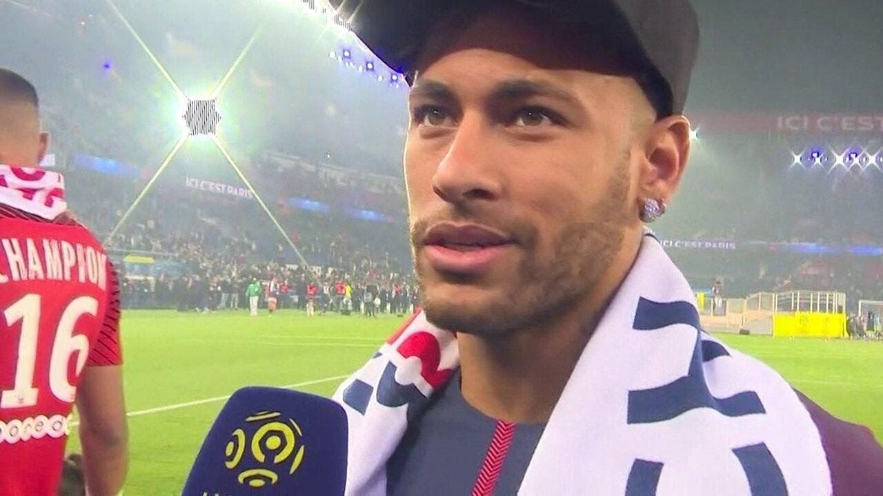 Na festa do PSG, Neymar fala da vontade de voltar a treinar e jogar
