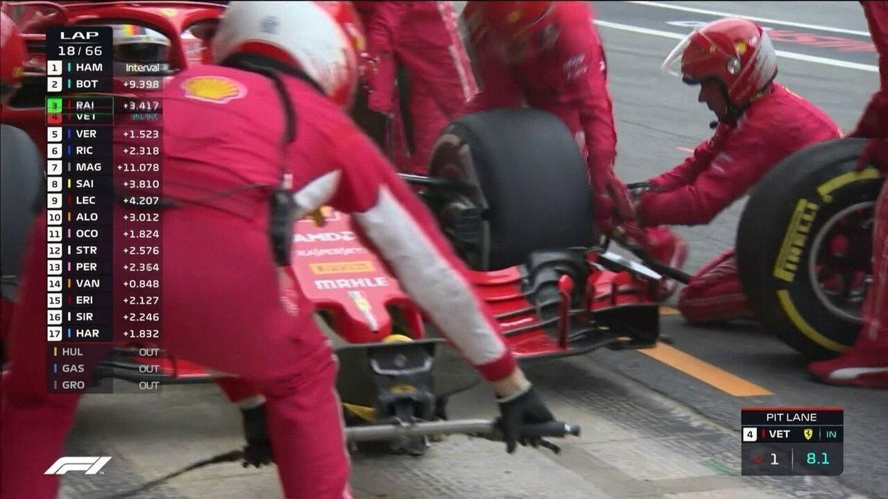 Vettel faz seu pit stop e coloca pneus médios