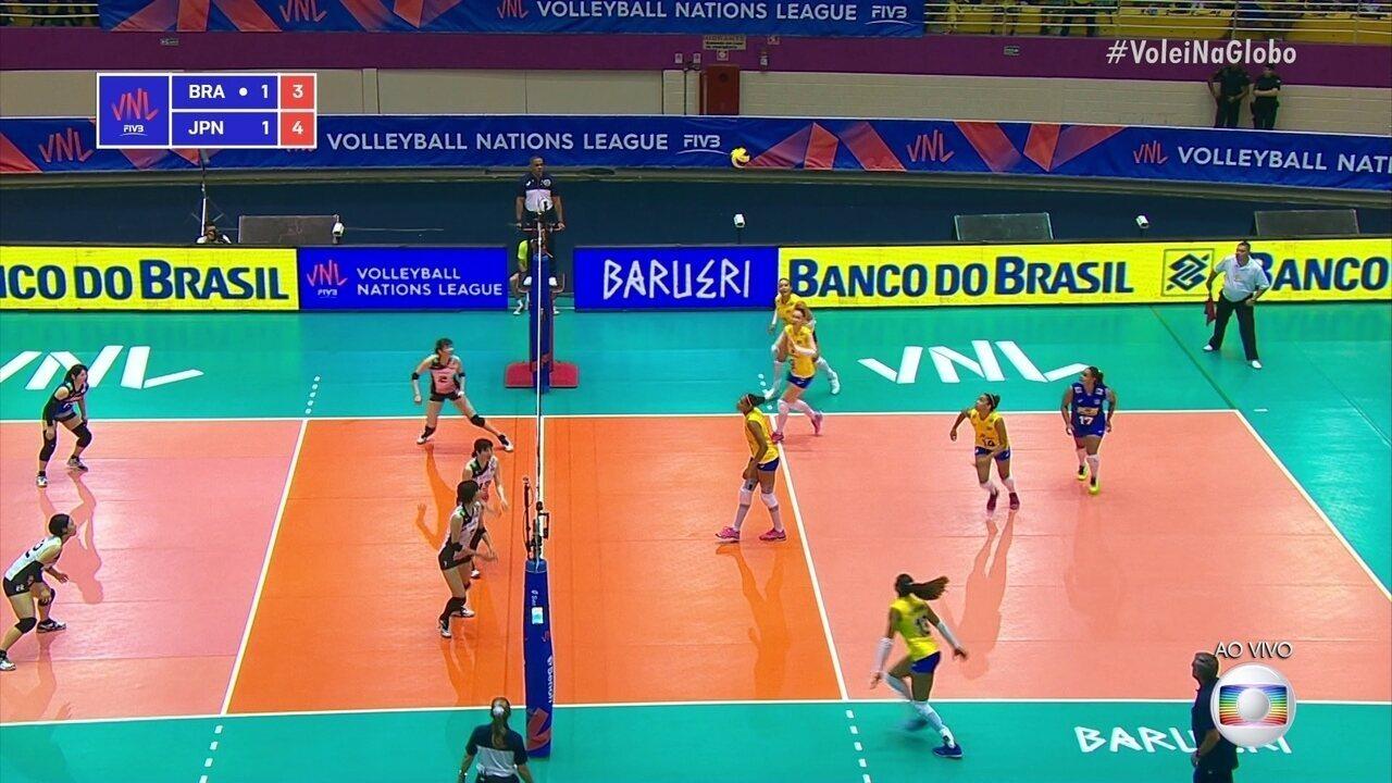 Melhores momentos: Brasil 3 x 1 Japão pela Liga das Nações de vôlei feminino