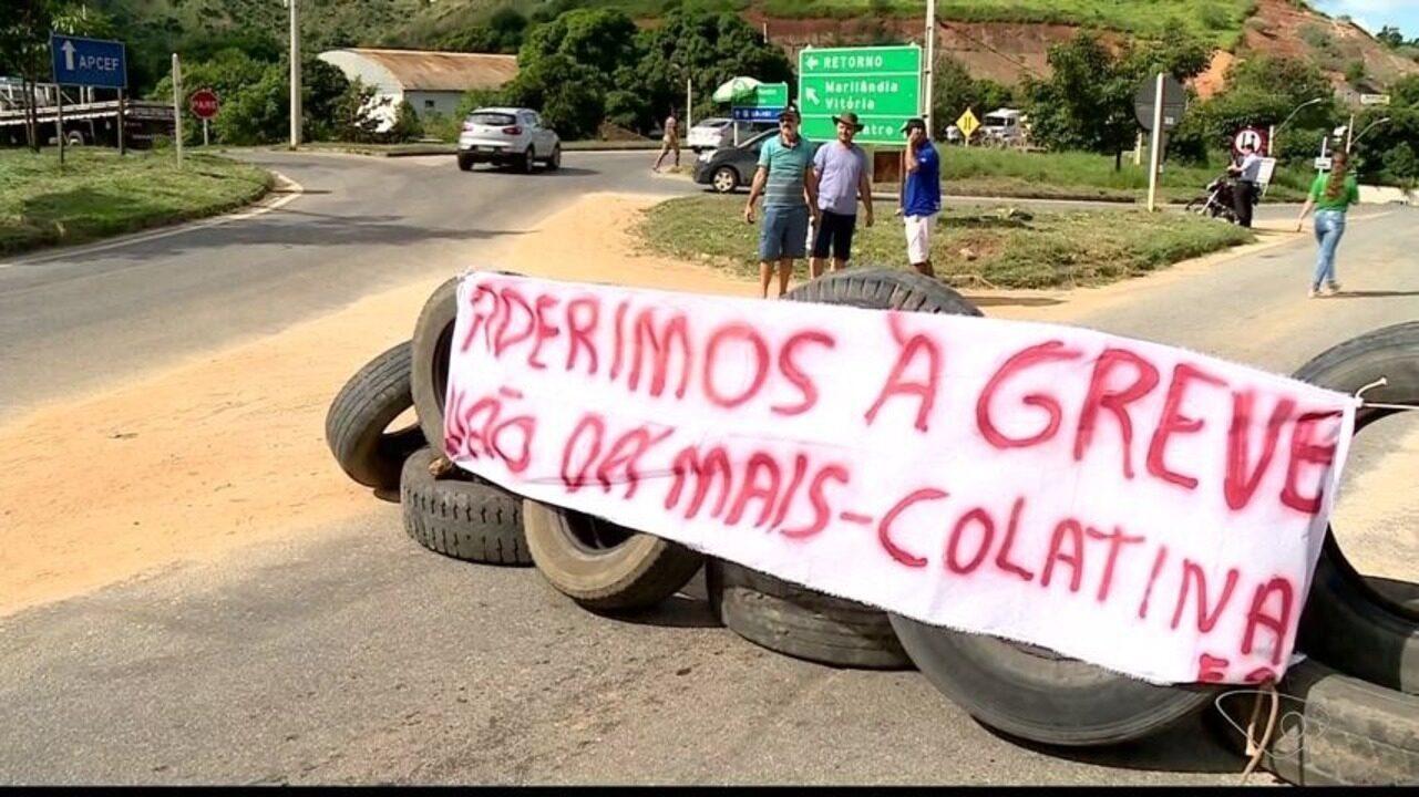Caminhoneiros protestam contra o preço da gasolina em Colatina, ES