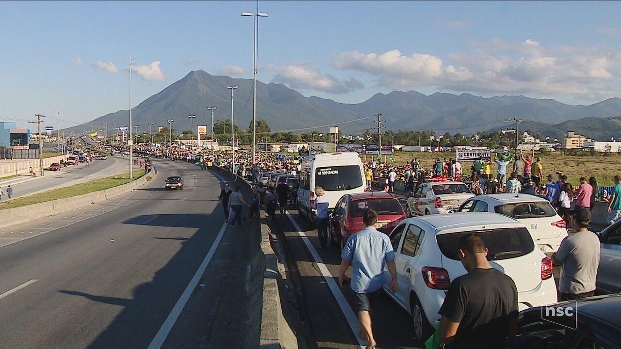 SC registra manifestações neste domingo relacionadas à greve dos caminhoneiros