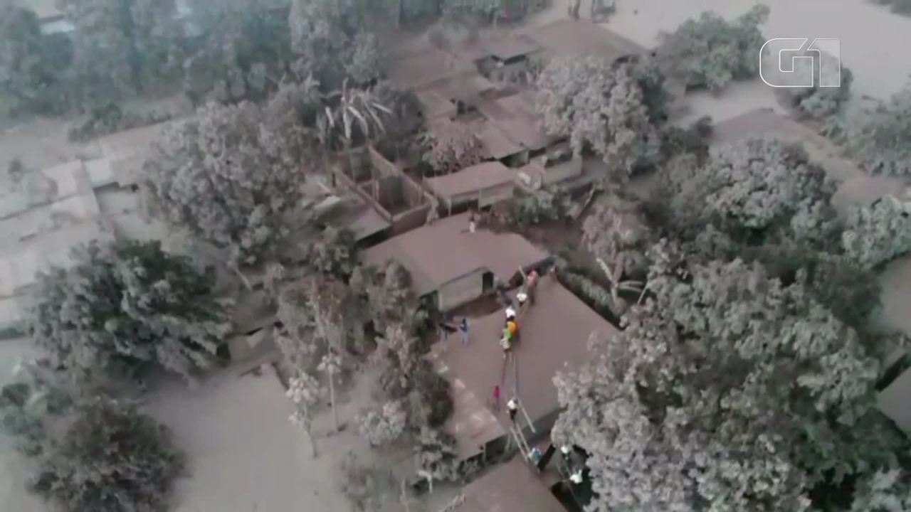 Drone capta destruição causada por erupção de vulcão na Guatemala