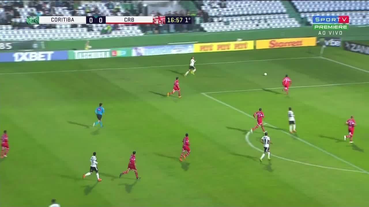 O gol da vitória do Coritiba sobre o CRB