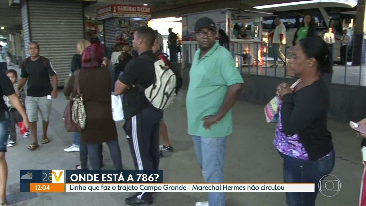 Passageiros reclamam de sumiço da linha 786 (Campo Grande - Marechal Hermes)