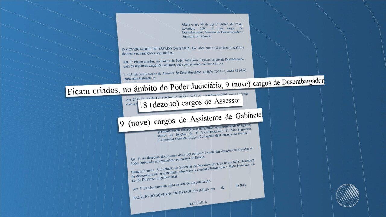 Governador sanciona lei que cria 36 cargos para o Tribunal de Justiça da Bahia