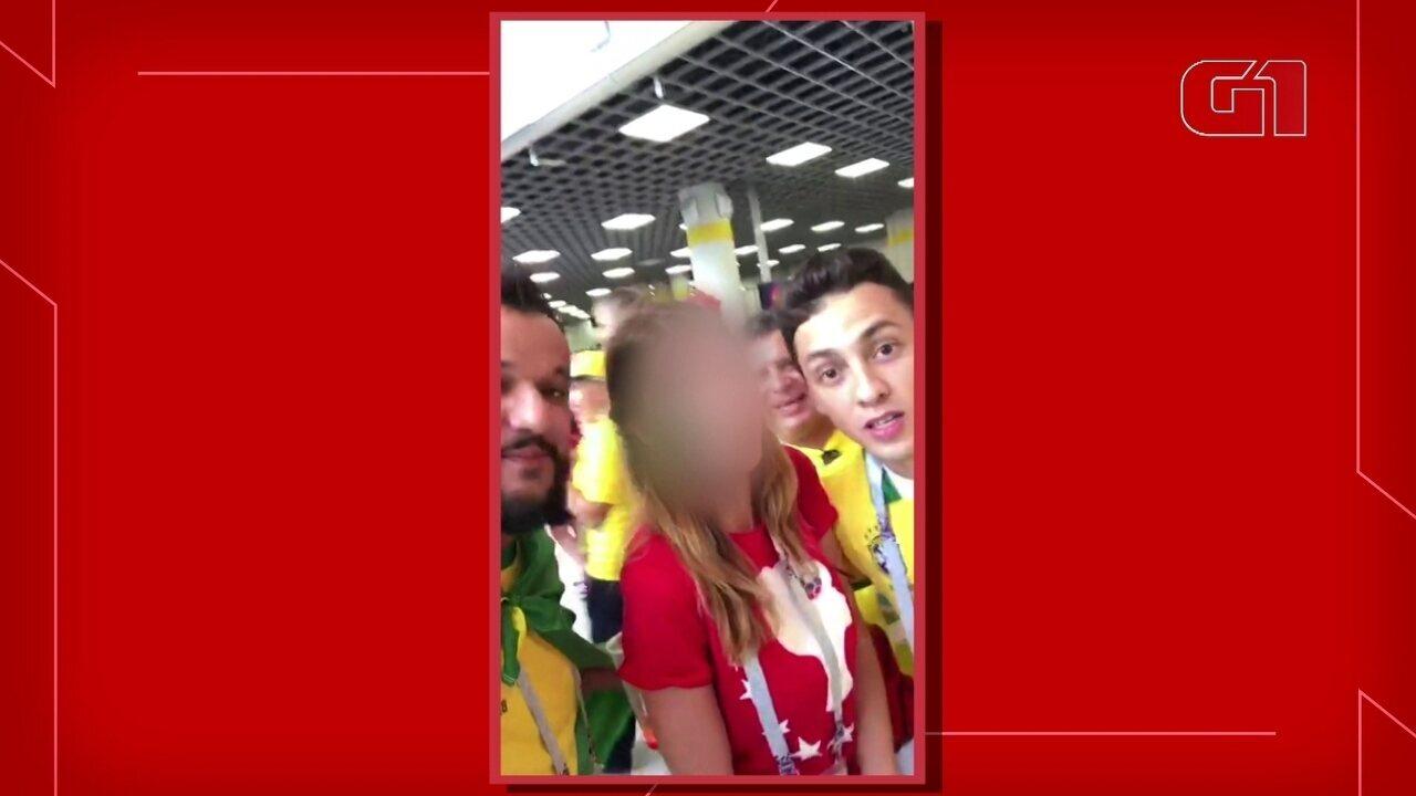 Vídeo mostra novo caso de brasileiros constrangendo mulher na Copa da Rússia