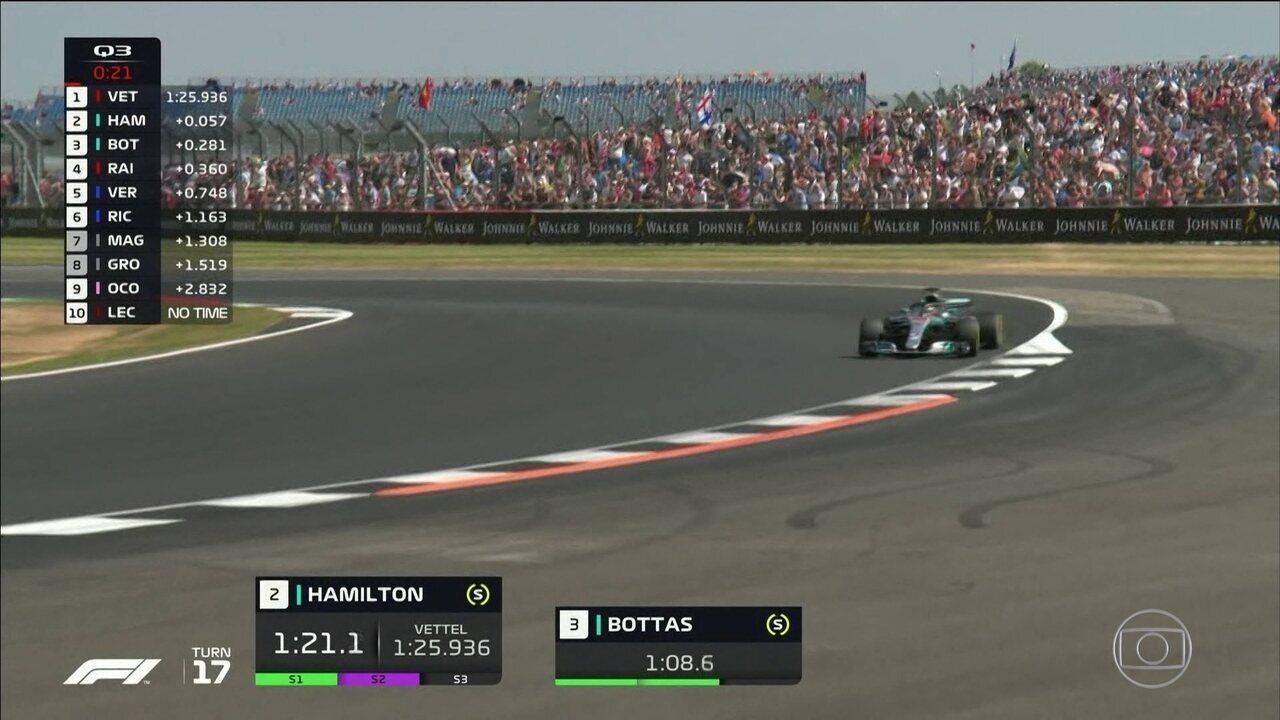 Lewis Hamilton larga na frente no GP da Inglaterra