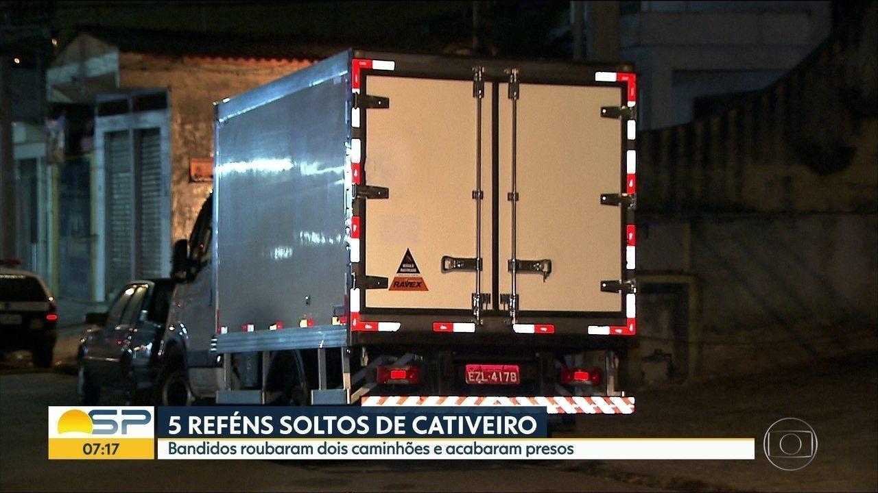 Bandidos roubam caminhões e fazem 5 reféns em Guarulhos